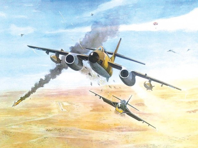 A painting by Rehan Siraj of the Saiful Azam of the Pakistani Air Force shooting down an Israeli bomber over Iraq in 1967.