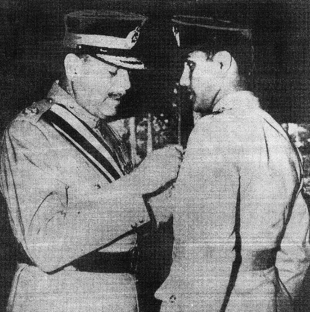Saiful Azam being decorated for heroism.