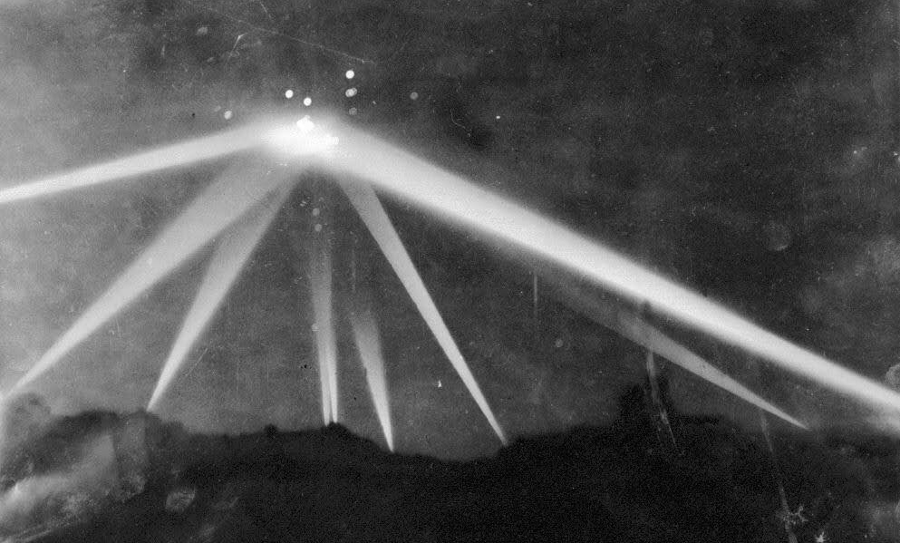 Searchlights scan the skies above Southern California in the early morning hours of Feb. 25, 1942. Air defences went on high alert as commanders believed Los Angeles was under attack by the Japanese.