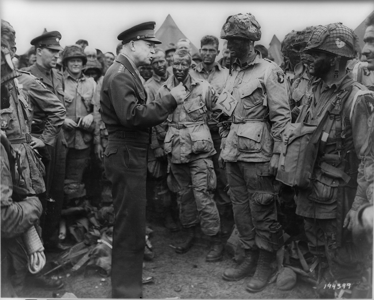 Eisenhower's famous pep-talk to the 101st Airborne on the eve of Operation Overlord. Little did these paratroopers realize that in Ike's back pocket was a speech he had prepared in case the invasion failed.