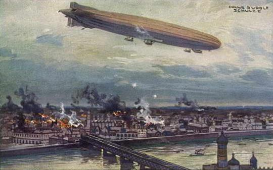 A German Zeppelin raids Warsaw in 1915.