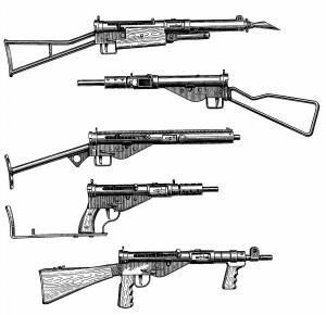 Variants of the sten gun.