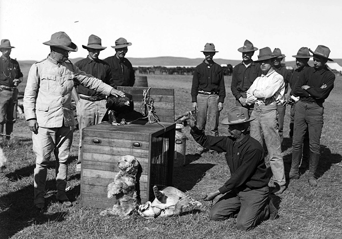 The Rough Riders and their regimental mascots. (Image source: Harvard College Library)